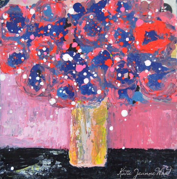 """Pink and blue flower painting No 106"" original fine art by Katie Jeanne Wood"
