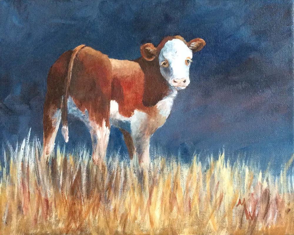 """Blue Calf"" original fine art by Michelle Wolfe"