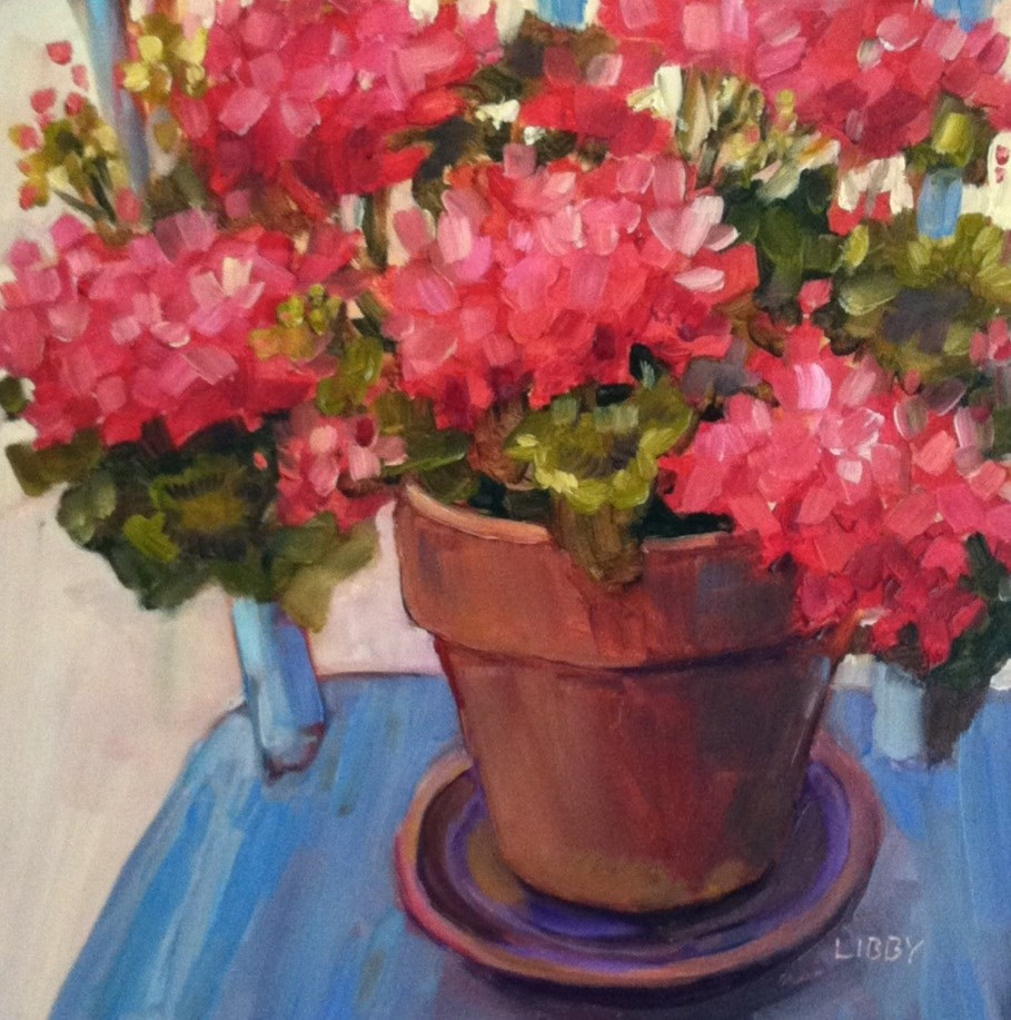 """Blue Chair and Geraniums"" original fine art by Libby Anderson"