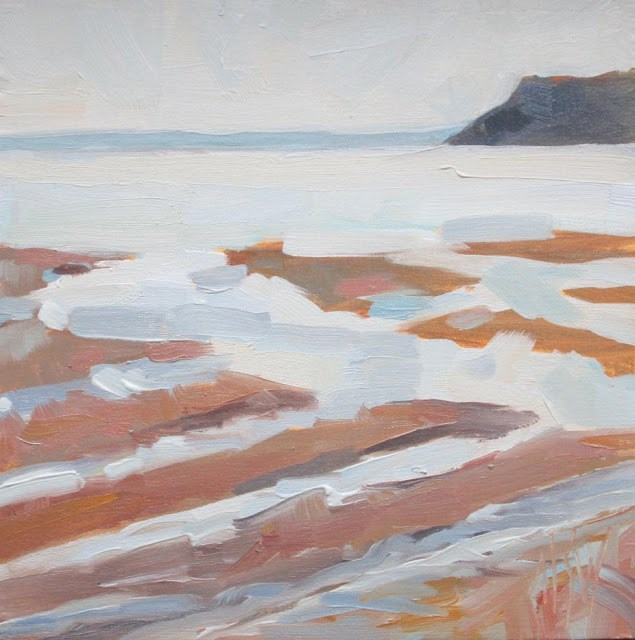"""Parrsboro Changing Tide 6x6 oil on panel. Second of two paintings in a sequence."" original fine art by Mary Sheehan Winn"