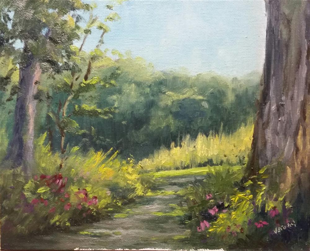 """""""Walking Path at Shaw-en plein air"""" original fine art by Veronica Brown"""