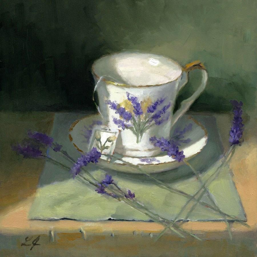"""Lavender Teacup & Sprigs"" original fine art by Linda Jacobus"