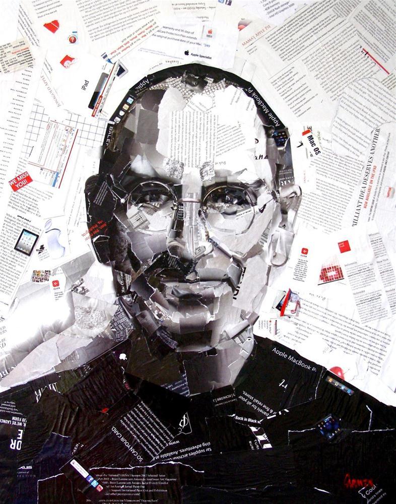 """""""Steve Jobs, 24 x 30 Collage"""" original fine art by Carmen Beecher"""