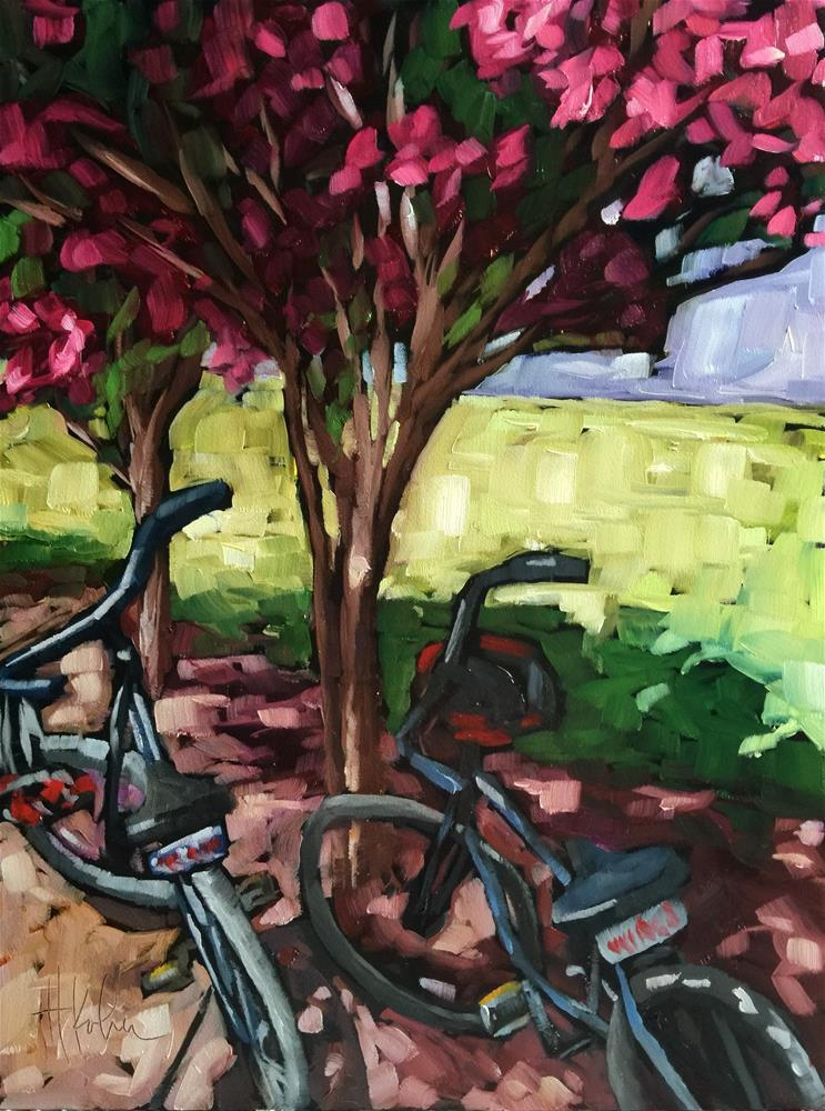 """Napa Bikes"" original fine art by Hallie Kohn"
