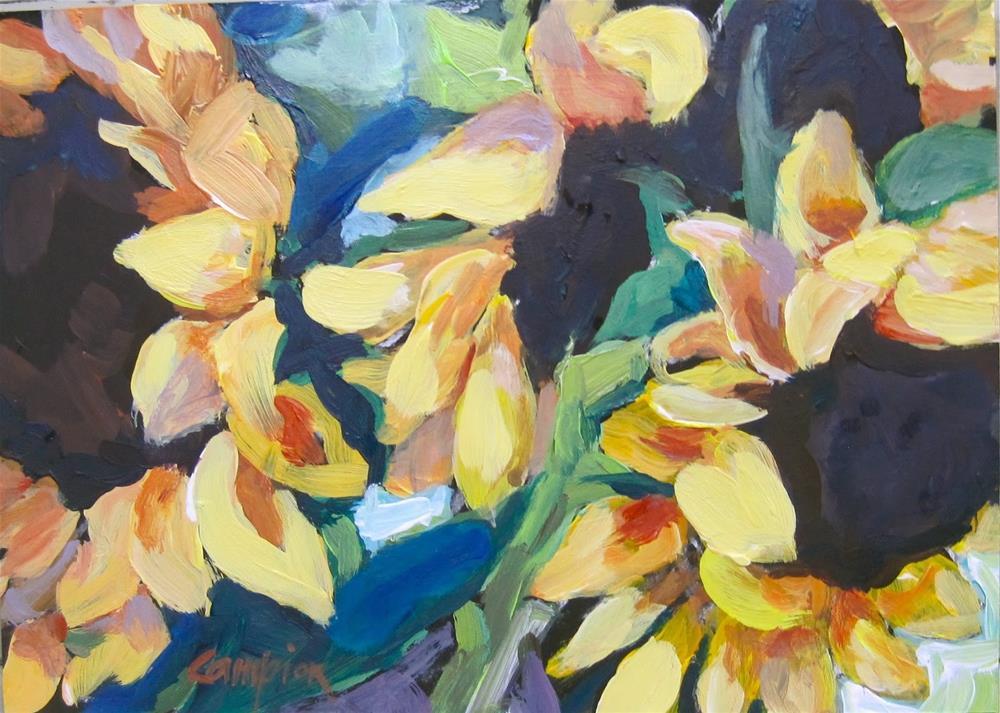 """""""108.  Sunflower Trio"""" original fine art by Diane Campion"""
