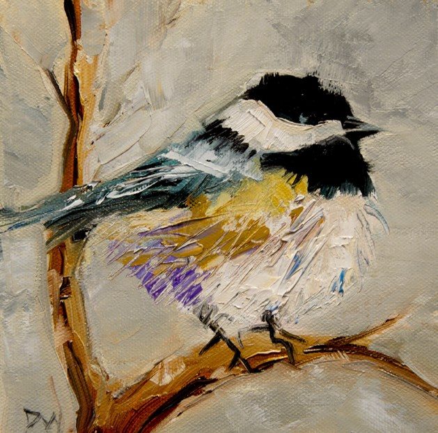 """Little Chick a dee"" original fine art by Diane Whitehead"
