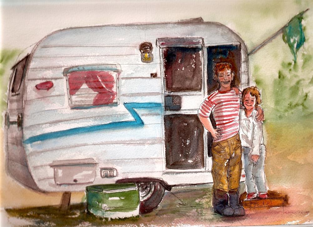 """9x12 Shasta Trailer Camping Kids Coleman Cooler Watercolor by Penny StewArt"" original fine art by Penny Lee StewArt"