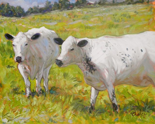 """""""Cows at Windy Acres Farm"""" original fine art by Chris Ousley"""