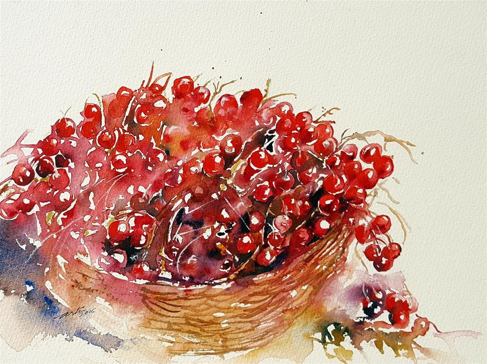 """Luscious Red Berries"" original fine art by Arti Chauhan"