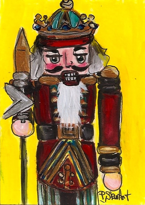 """ACEO Nutcracker Painting 203 King Spear Acrylic Red SFA OOAK Penny StewArt"" original fine art by Penny Lee StewArt"