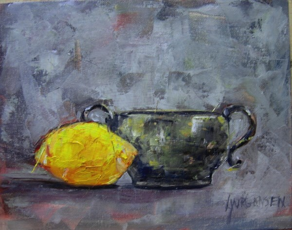 """lemon and silver 8 x 10 inch oil on panel"" original fine art by Linda Yurgensen"