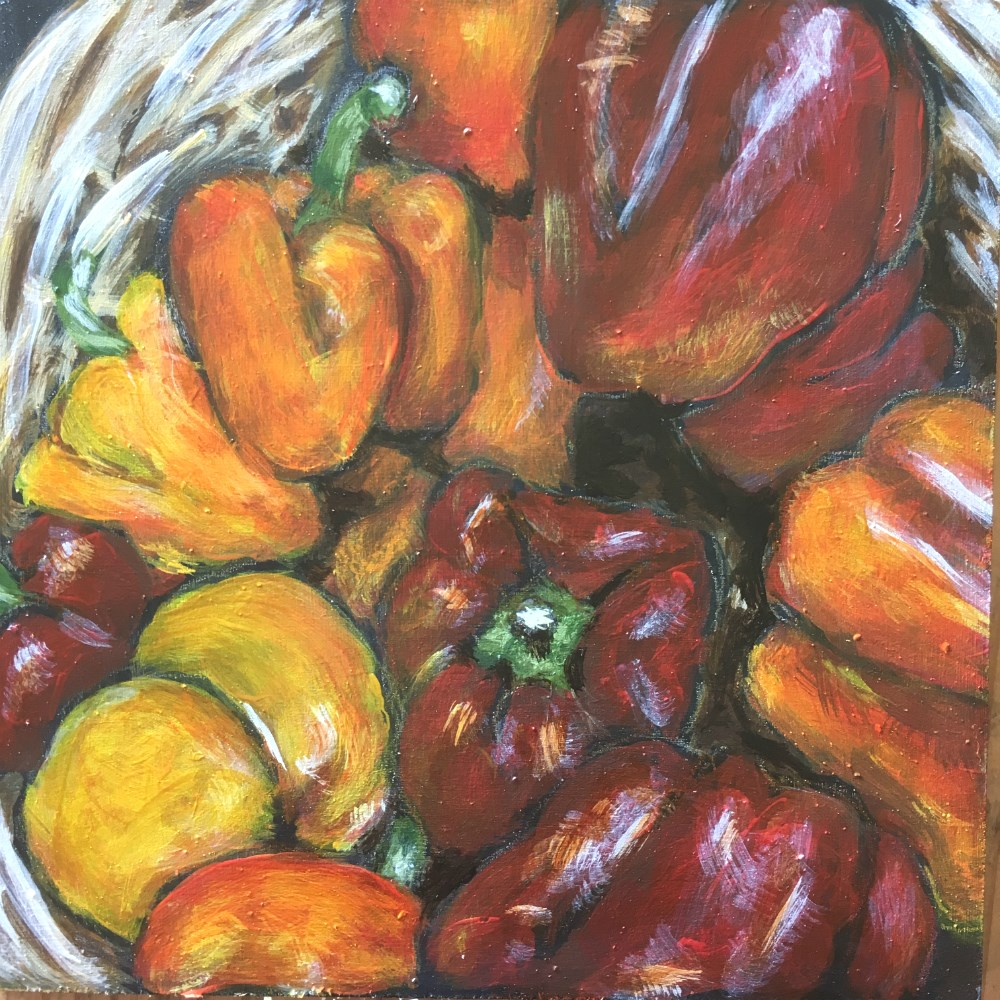 """Basket of peppers"" original fine art by Colleen OHair"