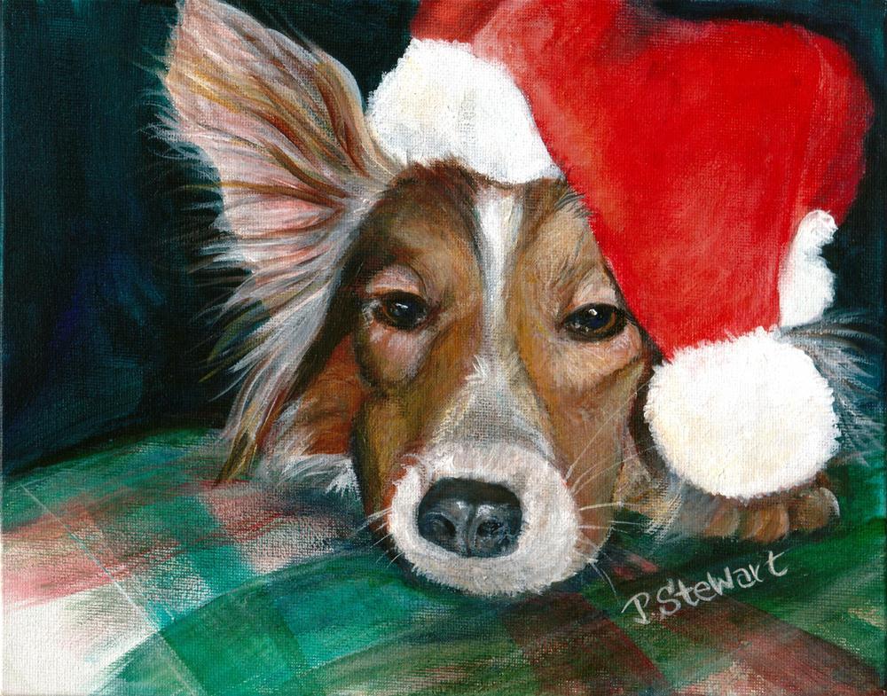 """""""Shelby the Sheltie, Acrylic on Canvas board, 8x10, Wearing a santa Hat"""" original fine art by Penny Lee StewArt"""