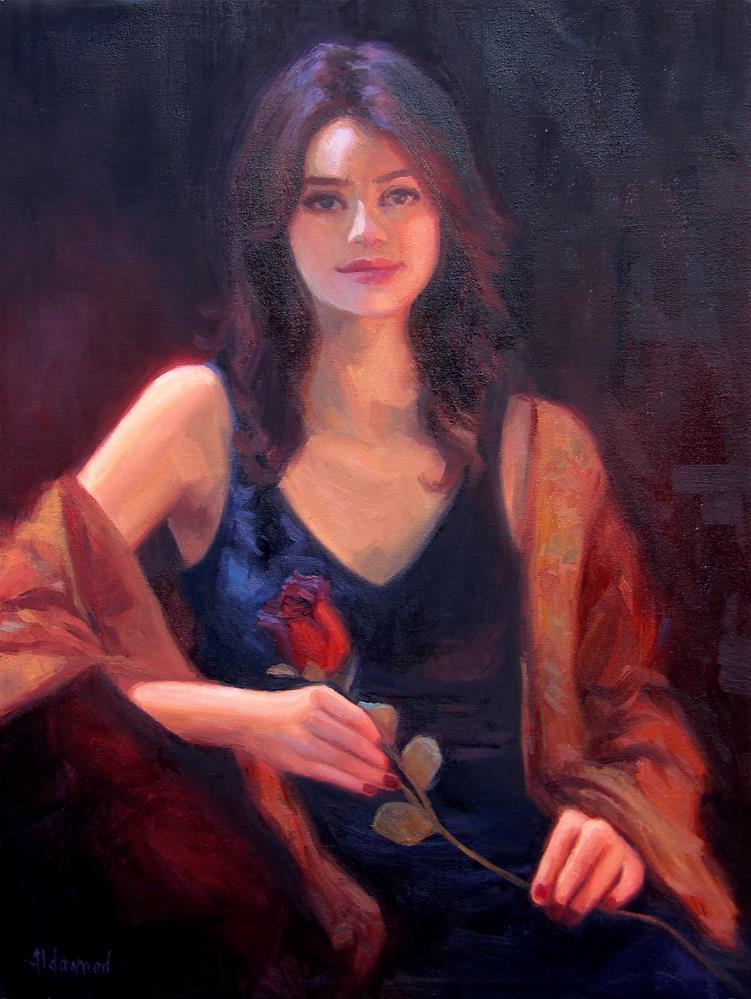 """Lyssandra with Rose"" original fine art by Sherri Aldawood"