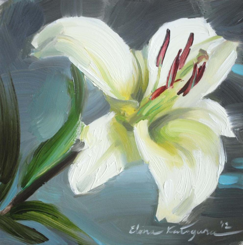 """One White lily"" original fine art by Elena Katsyura"