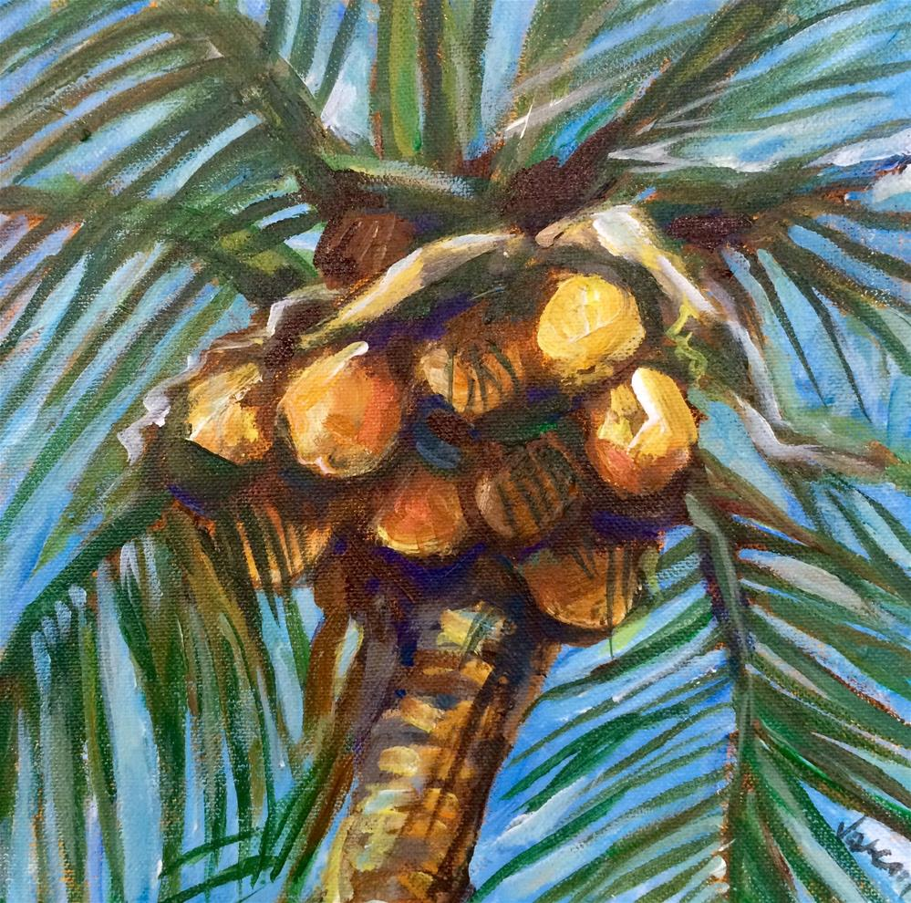 """Beach Coconuts"" original fine art by Valerie Vescovi"