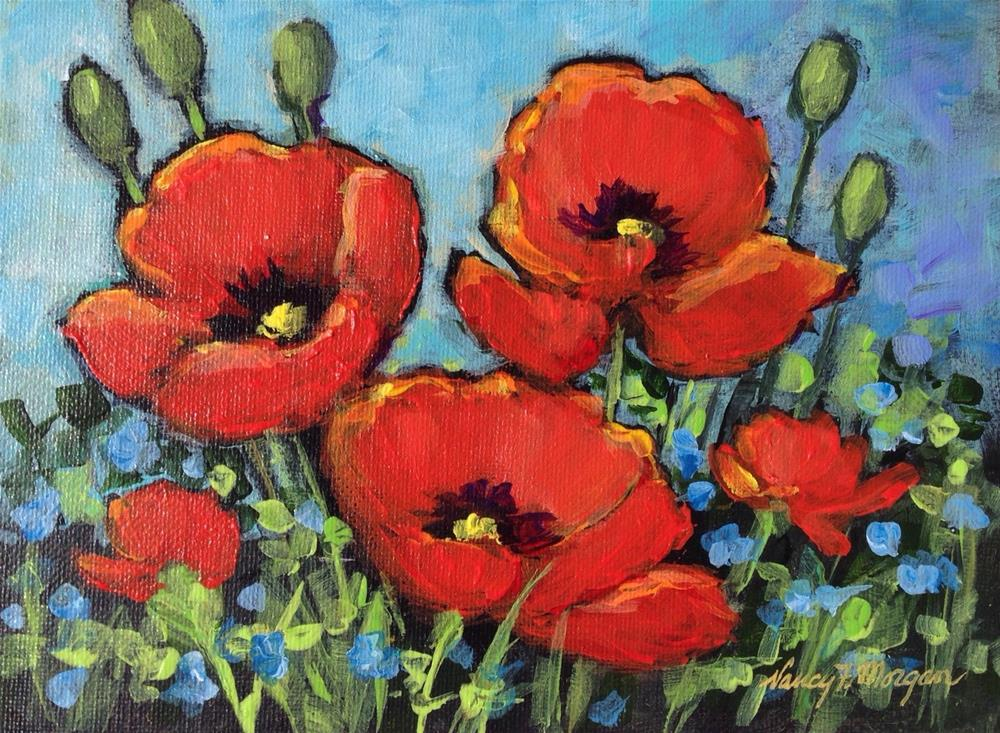 """Passing Poppies"" original fine art by Nancy F. Morgan"