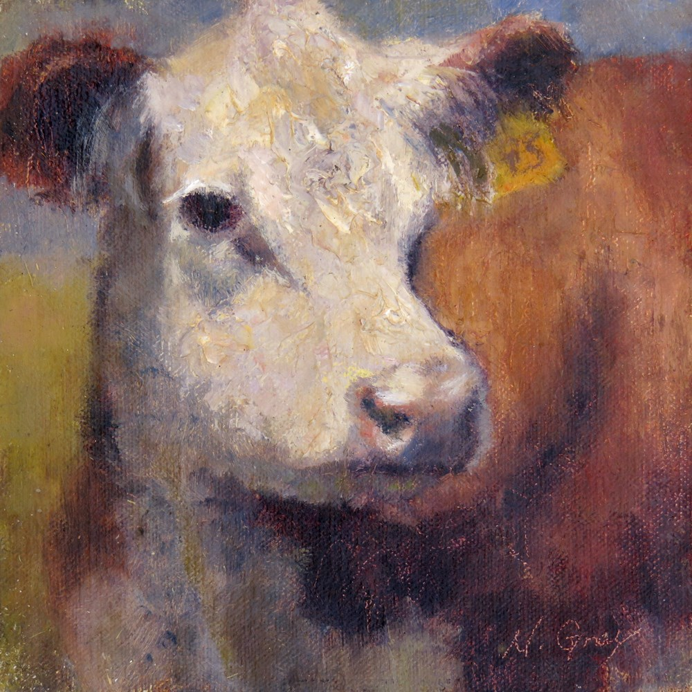 """Lucy the Cow"" original fine art by Naomi Gray"