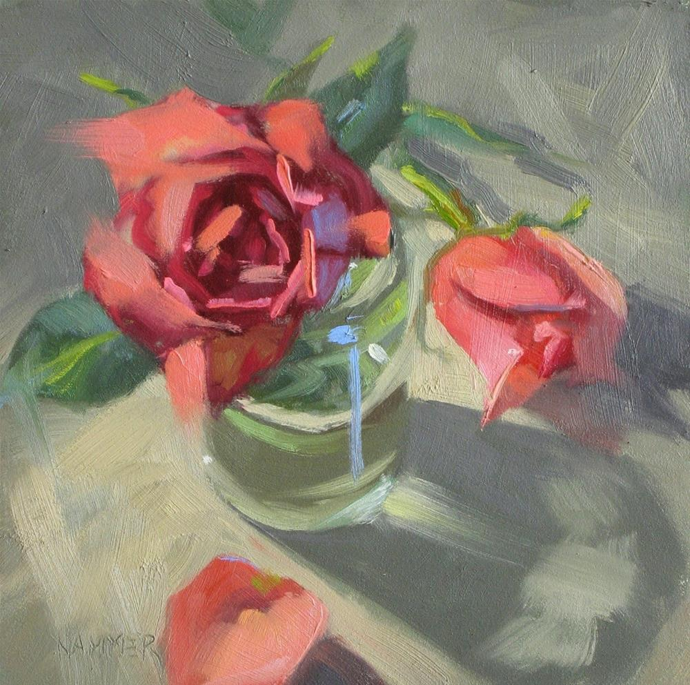 """Roses  6x6  oil"" original fine art by Claudia Hammer"