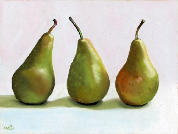 """Three bosc pears"" original fine art by Ria Hills"