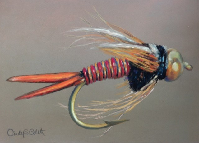 """Fly 7 - Red Copper John"" original fine art by Cindy Gillett"