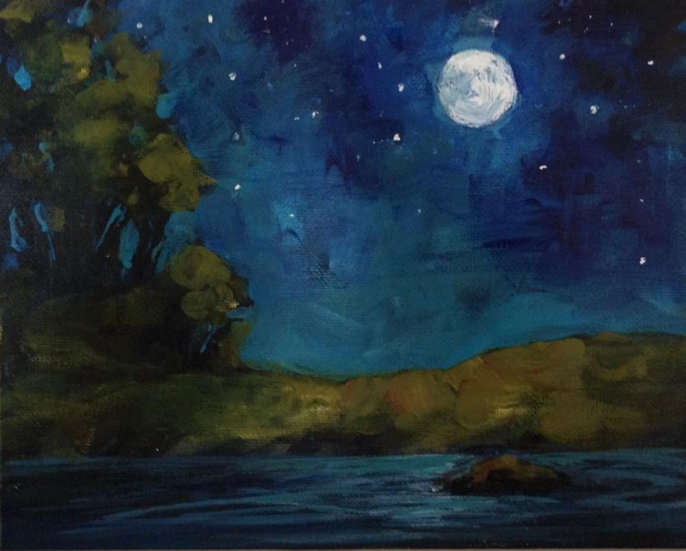 """Moonlit Night"" original fine art by Shannon Bauer"