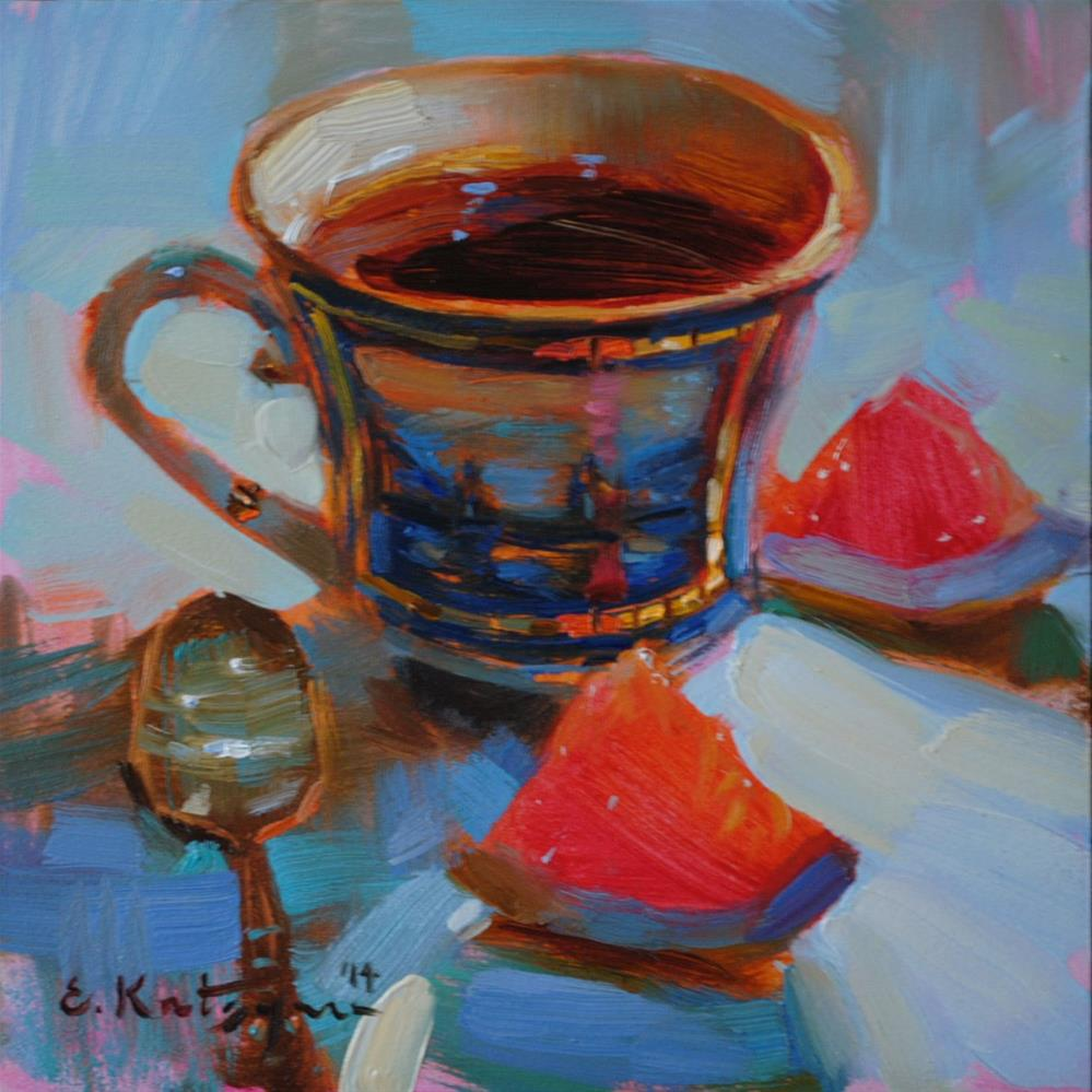 """Coffee and Citrus"" original fine art by Elena Katsyura"