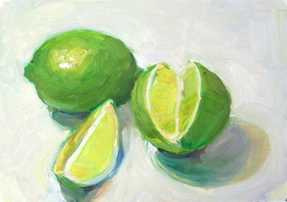 """Limes,still life,oil on canvas,5x7,price$200"" original fine art by Joy Olney"