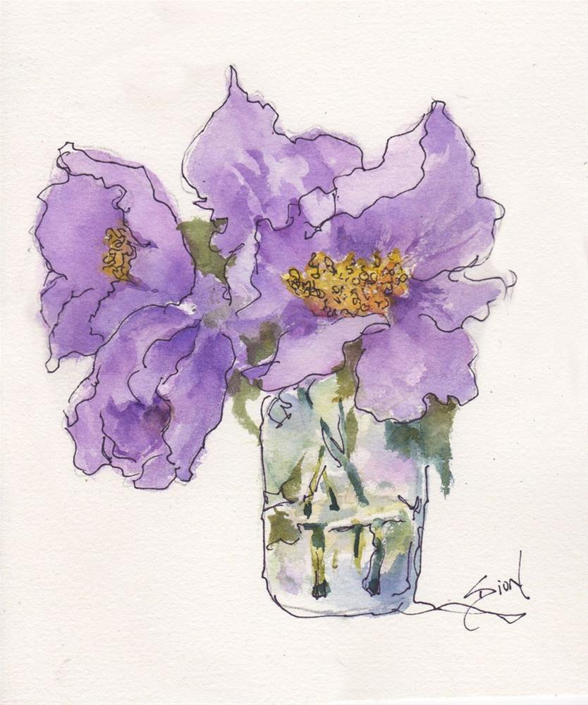 """In Violets"" original fine art by Sue Dion"