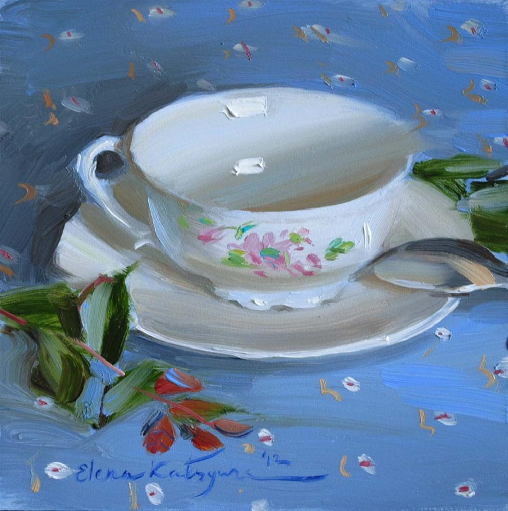 """Teacup in the Blue"" original fine art by Elena Katsyura"