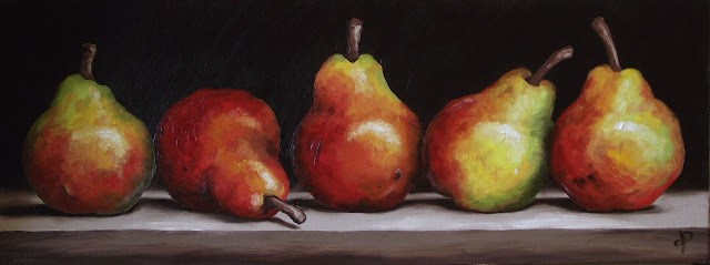 """Five Blush Pears"" original fine art by Jane Palmer"