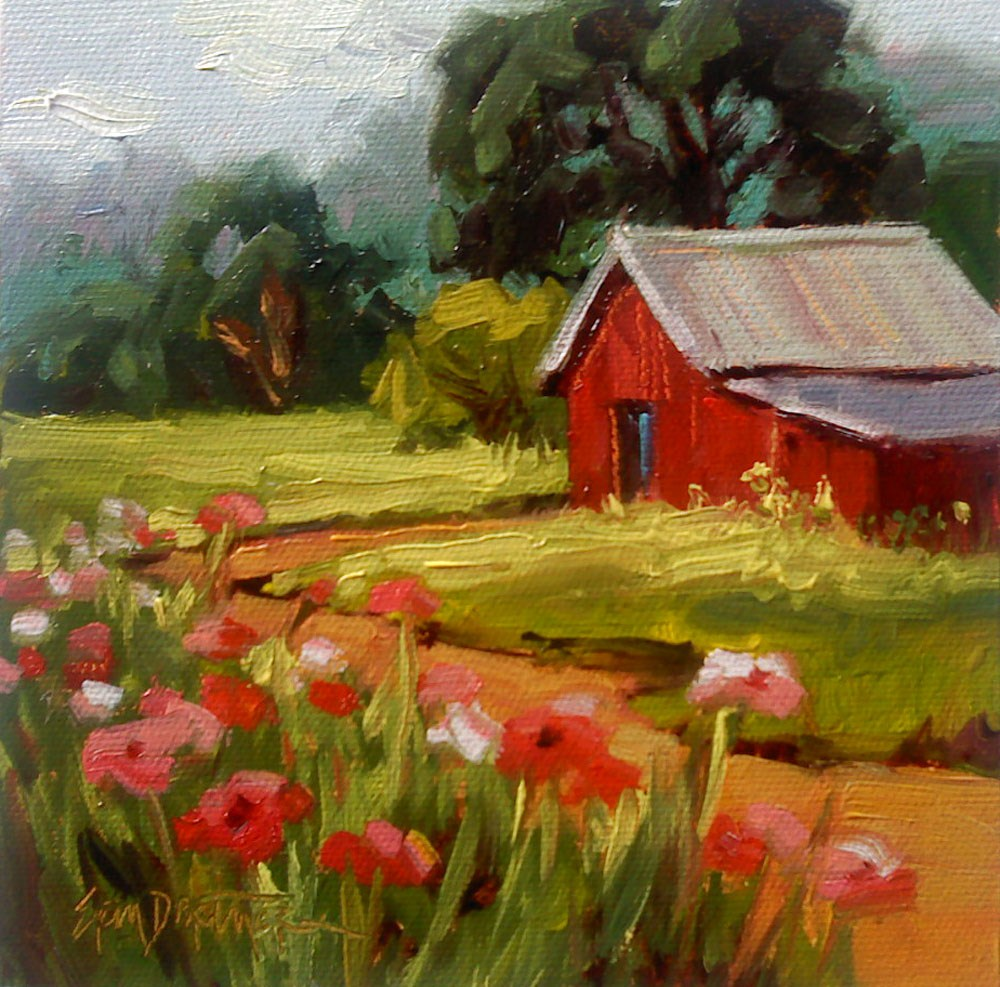 """Hill Country Poppies"" original fine art by Erin Dertner"