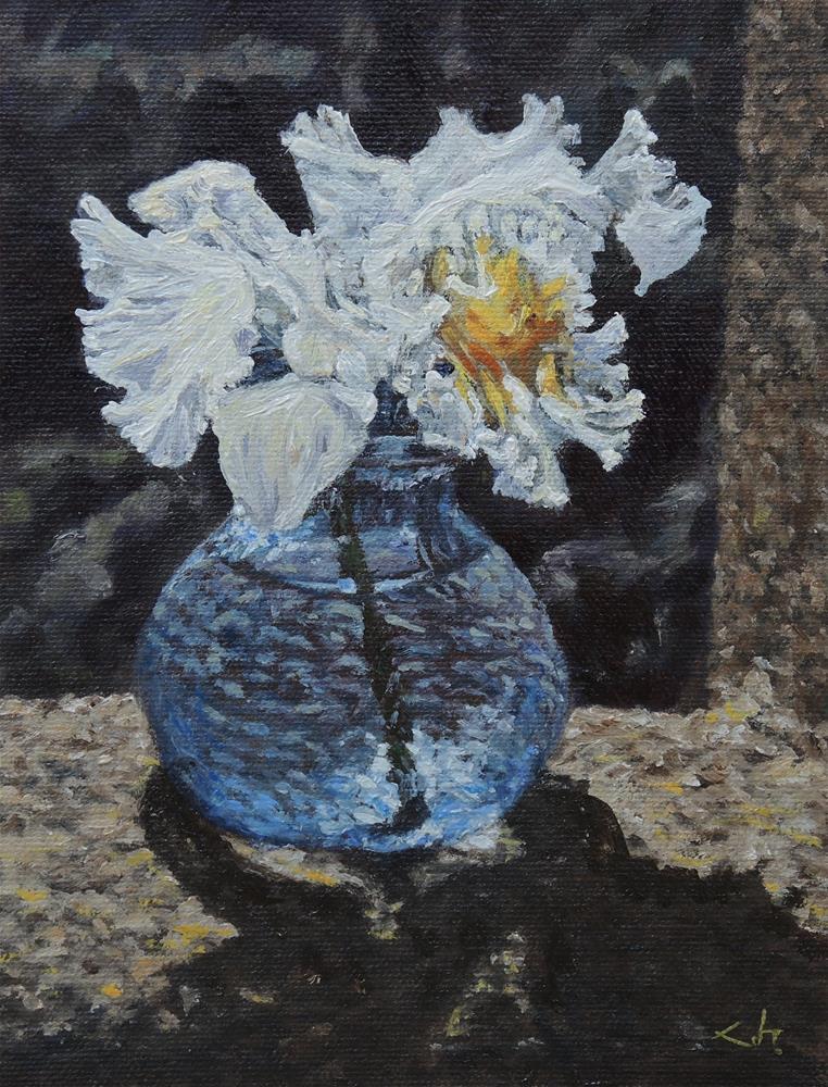 """Orchid in Blue Vase"" original fine art by Candi Hogan"