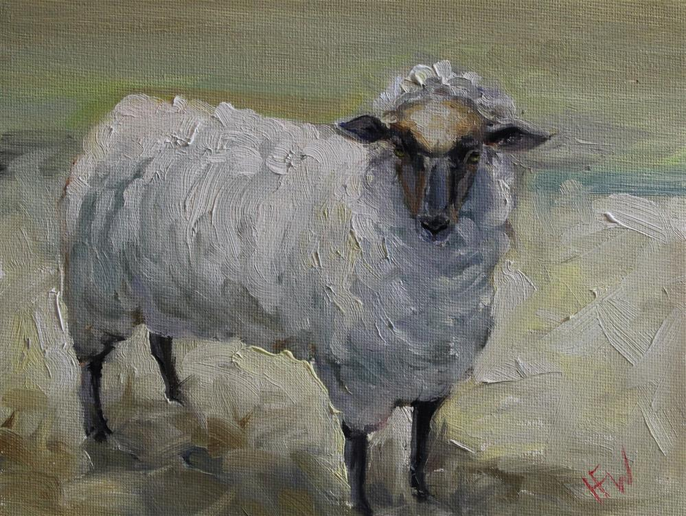 """Fluffy Sheep"" original fine art by H.F. Wallen"