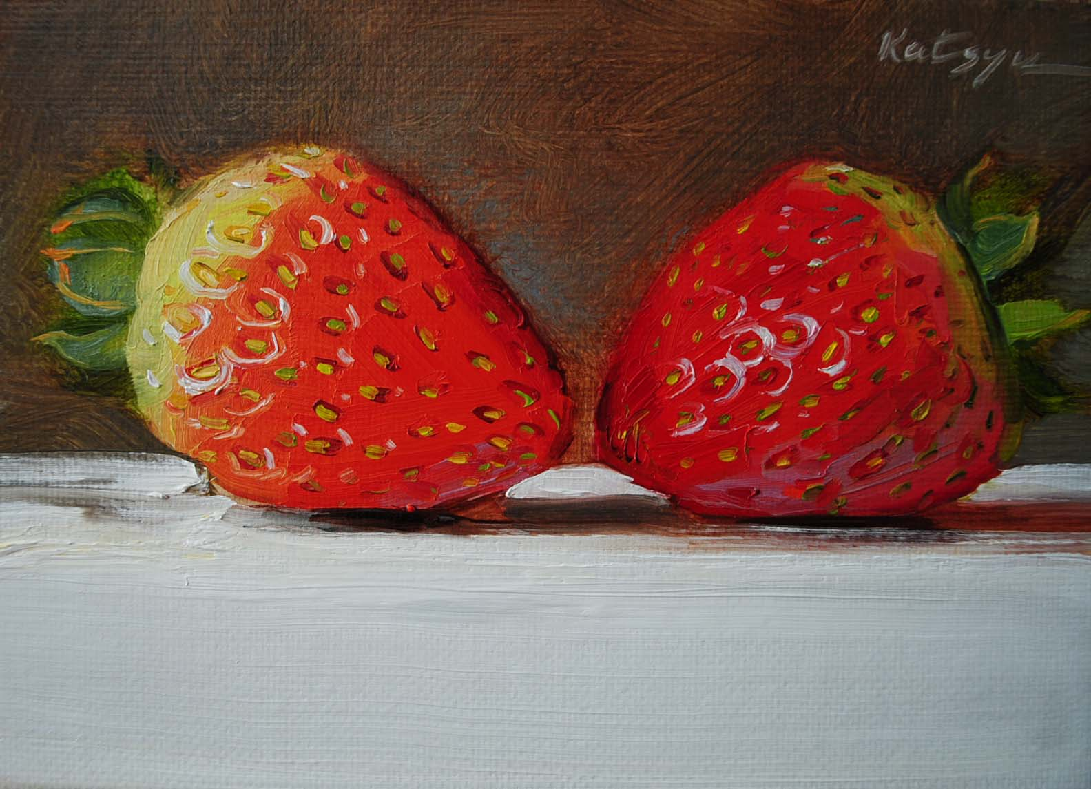 """Strawberry Kiss"" original fine art by Elena Katsyura"