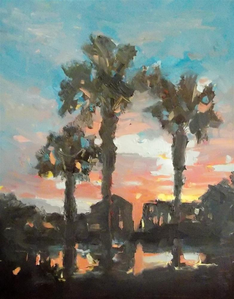 """""""PALM SUNDOWN"""" original fine art by Doug Carter"""