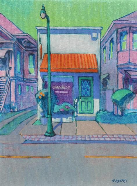 """Orange Salon"" original fine art by Nancy Roberts"