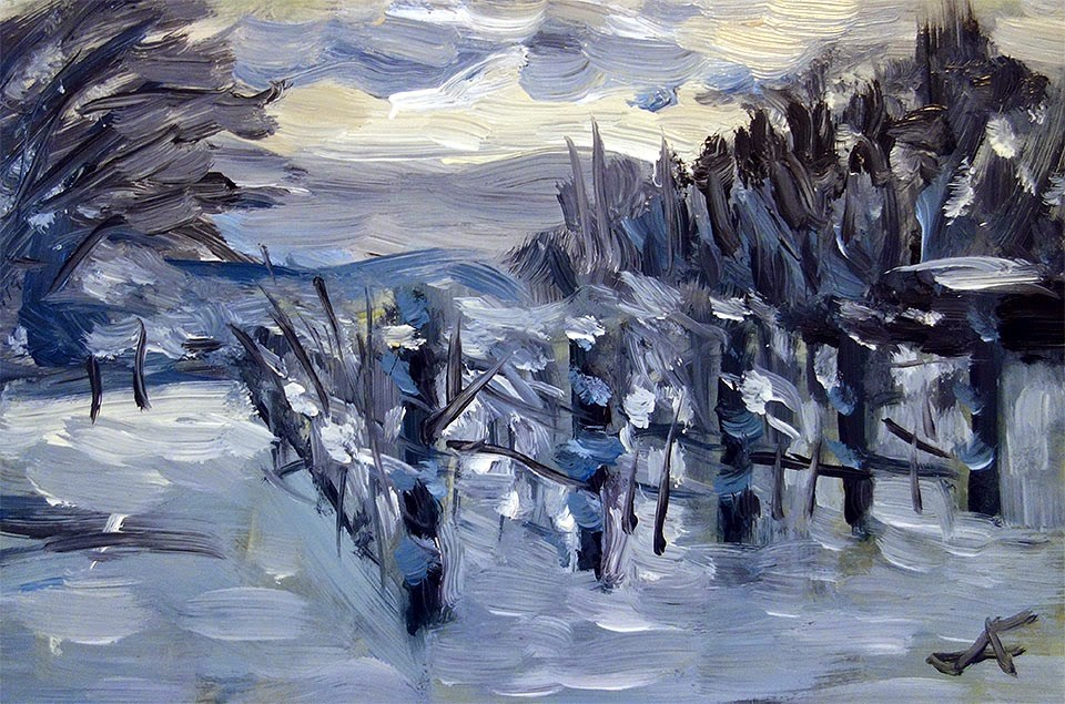 """Snow Vineyard"" original fine art by J. Farnsworth"