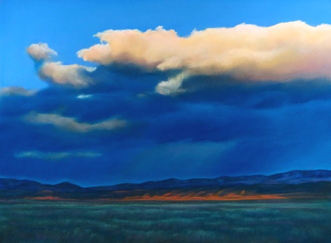 """White Cloud over Toston"" original fine art by Carol Zirkle"