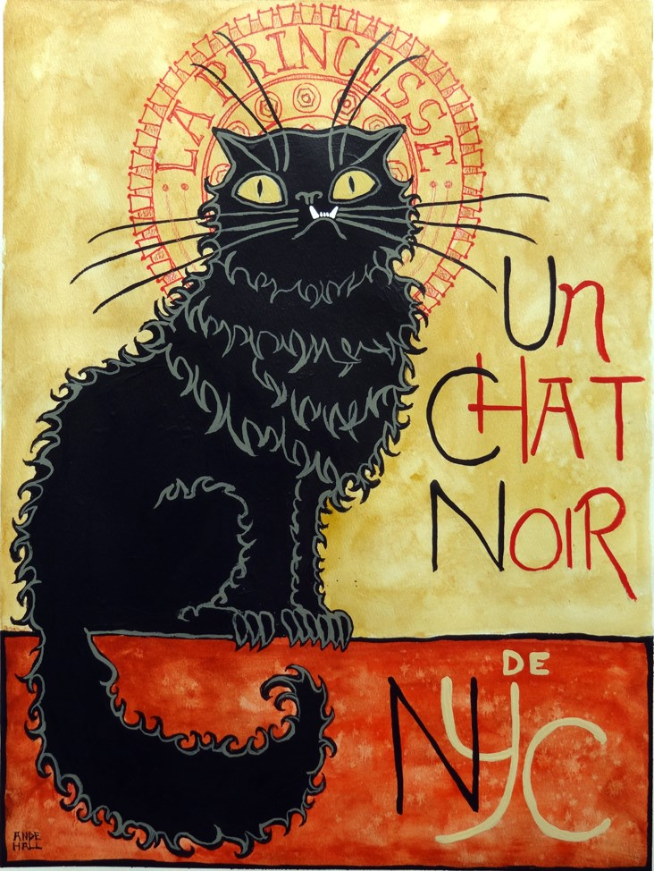 """Un Chat Noir"" original fine art by Ande Hall"