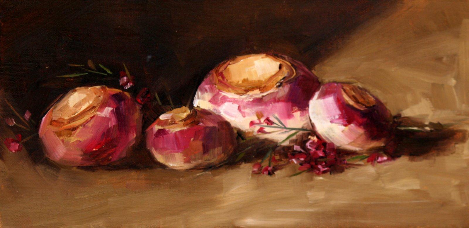 """Turnips and Flowers"" original fine art by Carol Carmichael"