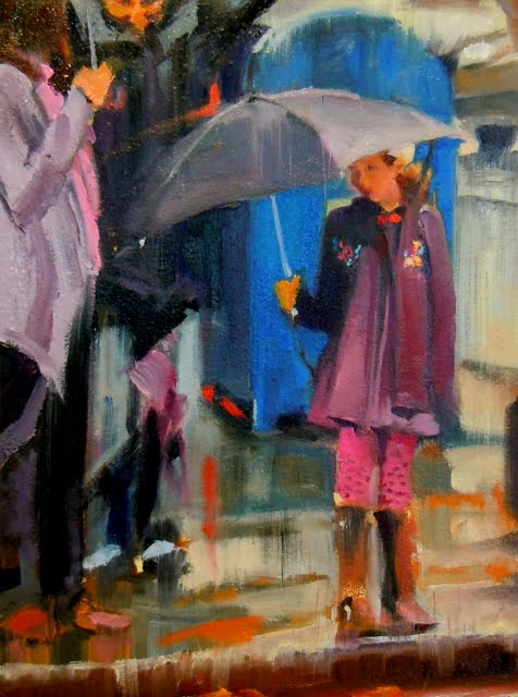 """Umbrella Girl figurative, cityscape"" original fine art by Robin Weiss"