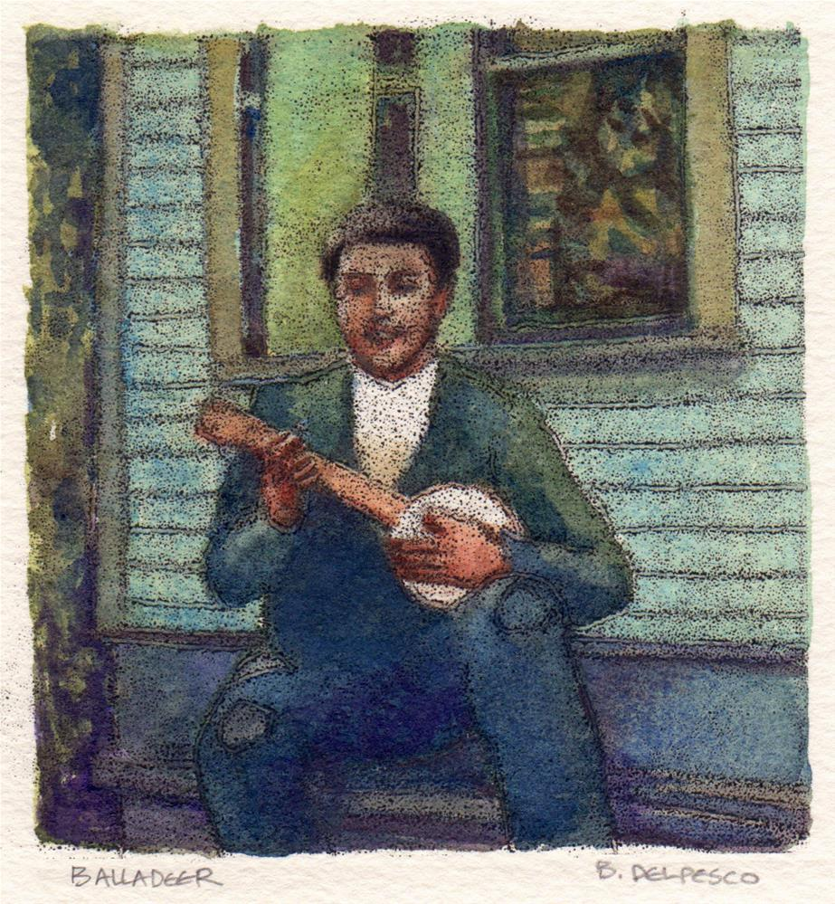 """Trace Monotype: Balladeer (& museum-goers are asked what they see in art)"" original fine art by Belinda Del Pesco"