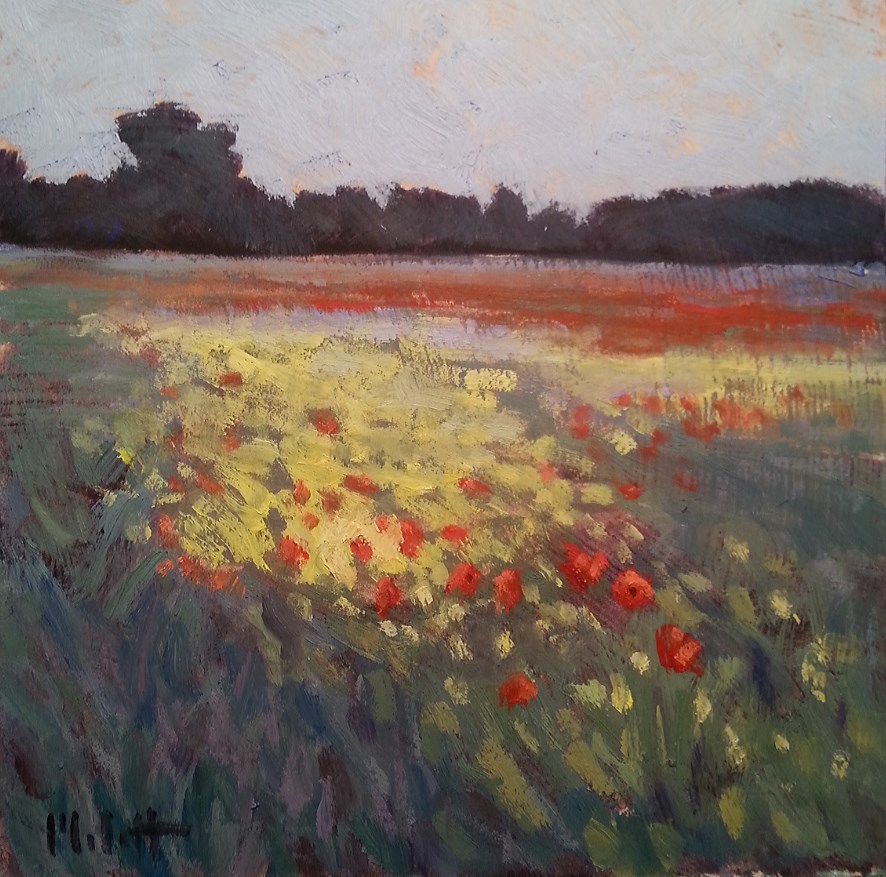 """Poppy Field Floral Landscape Oil Painting"" original fine art by Heidi Malott"