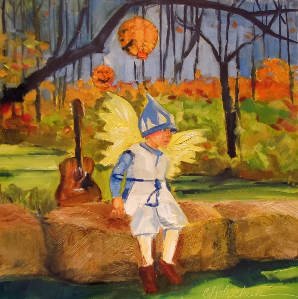 """Happy Halloween!  8x8 oil"" original fine art by Christine Holzschuh"