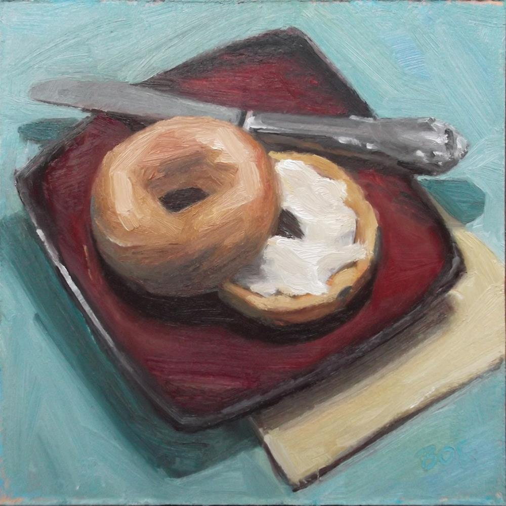"""Bagel with a Schmear"" original fine art by Karen Boe"