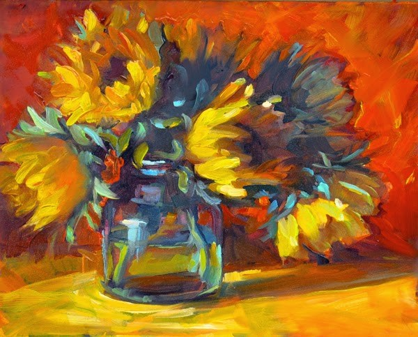 """More Sunflowers"" original fine art by Karen Bruson"