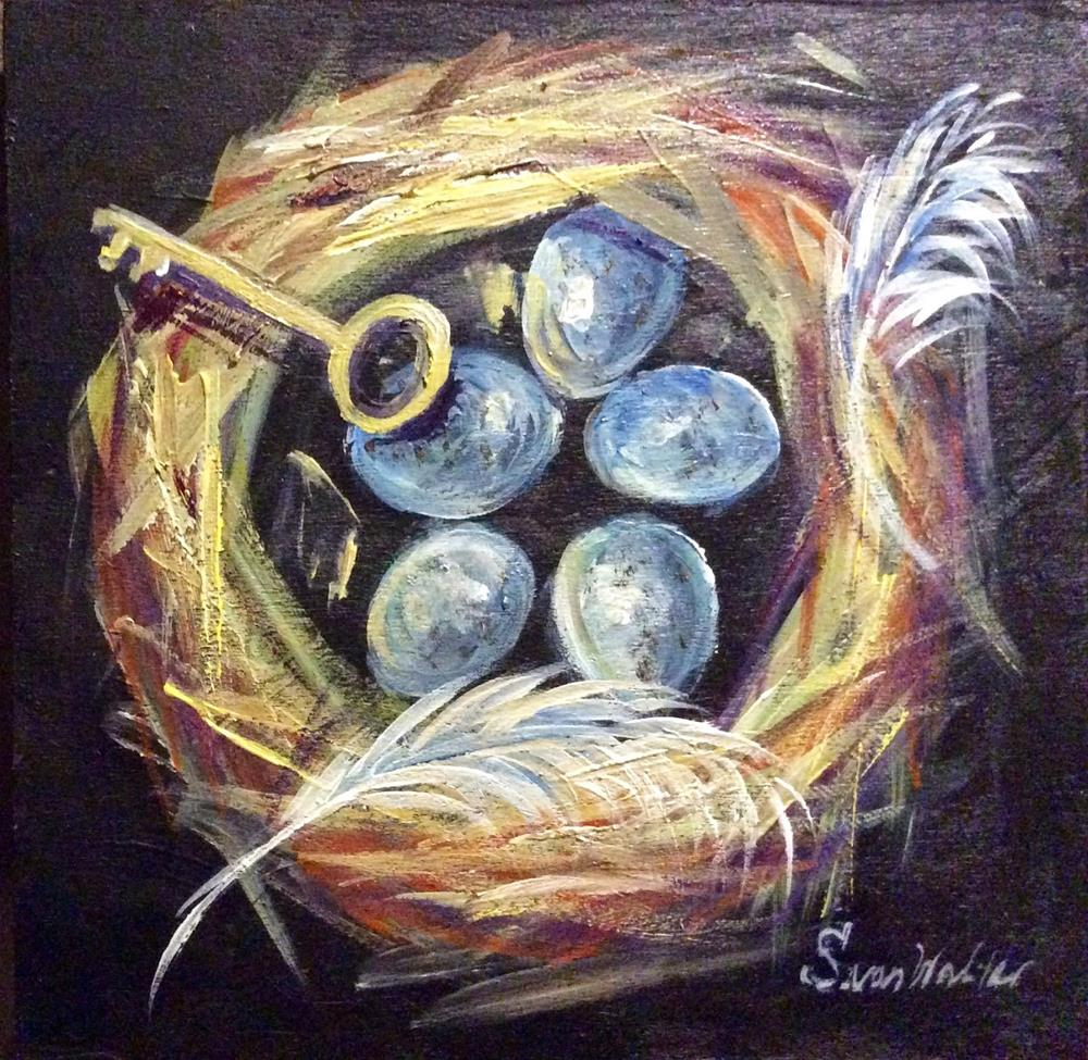 """Bird Nest with Skeleton Key"" original fine art by Sonia von Walter"