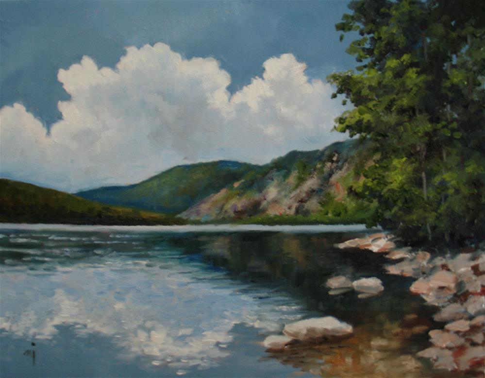 """""""Lake with Reflections"""" original fine art by Nel Jansen"""
