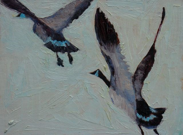 """Canadian Couple in Flight"" original fine art by Susan Hammer"